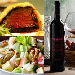 Western Cuisine Cooking Wellington steak, wine and Waldorf salad
